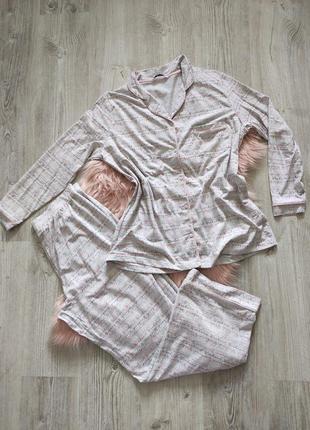 Трикотажная хлопковая натуральная серая пижама домашний костюм