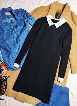 Primark платье чёрное прямое трапеция с белым воротником классическое рукав длинный