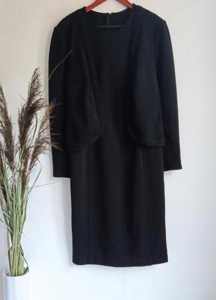 ✨тепла , базова чорна сукня, машинна в'язка , платье миди , плаття , с жакетом обманка , 2 в 1✨