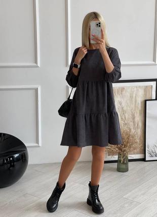 Платье женское вельветовое свободного кроя размер 42-52