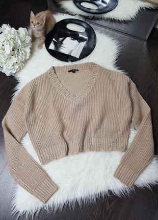 Пуловер укороченный с v - образным вырезом