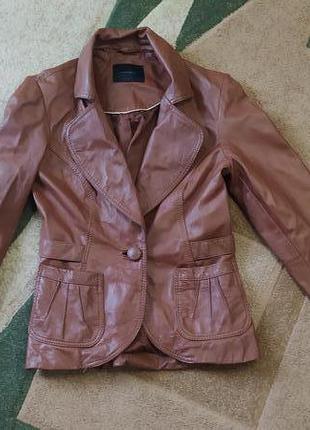 Натуральный кожанный пиджак жакет піджак шкіряний куртка курточка размер с, м недорого