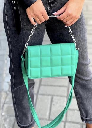 Зелёная сумка кожзам кросс боди стёганая с цепочкой