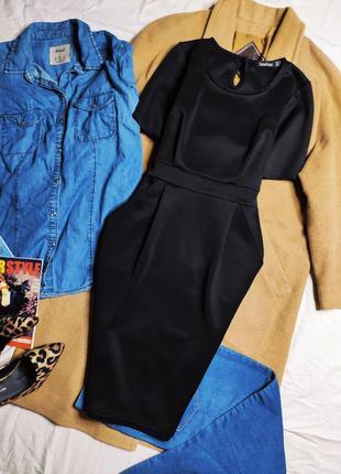 Boohoo платье чёрное миди с карманами карандаш футляр по фигуре классическое