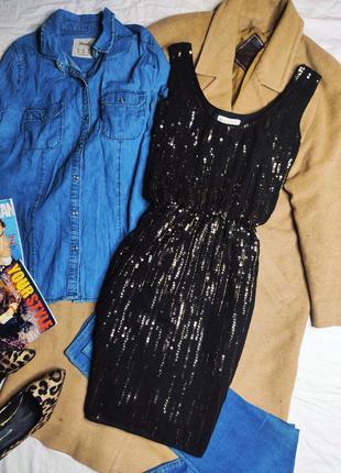 Monsoon платье чёрное с золотыми пайетками новое праздничное нарядное по фигуре приталенное