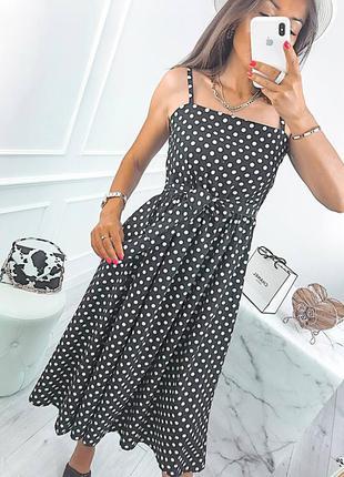 Красивое летнее платье сарафан в горошек чёрно белое платье распродажа