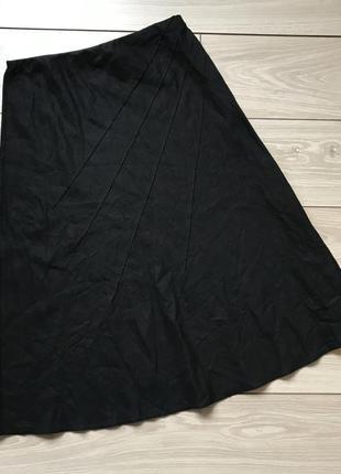 Чёрная льняная миди юбка на резинке лён вискоза