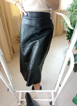 Шикарная юбка миди из эко кожи h&m💕/спідниця