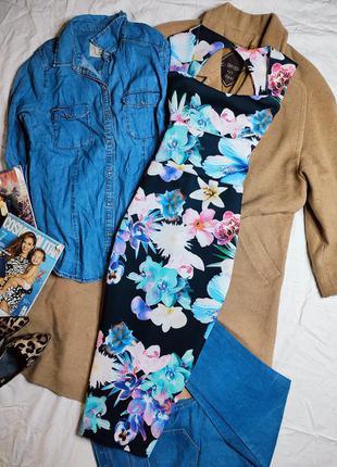 Платье синее голубое в цветочный принт миди по фигуре карандаш футляр