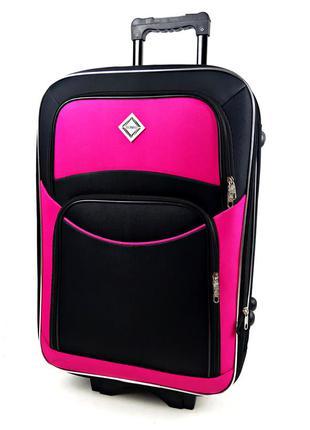 Большой тканевый чемодан черно-розовый на 5 колесах