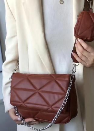 Коричневая женская сумка кожзам кросс боди стёганая с цепочкой и кошельком