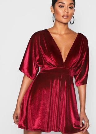 Boohoo платье кимоно с вырезом свободная юбка бордовое вишневое короткое с рукавом