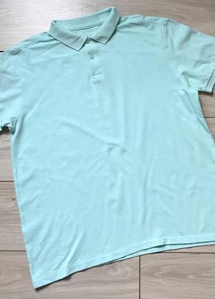 Бирюзовая футболка поло мужская манжет хлопок xl