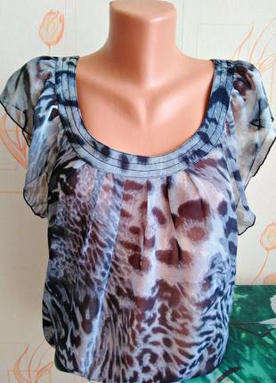 Стильная шифоновая блуза в леопардовый принт only, 💯 оригинал, молниеносная отправка 🚀⚡