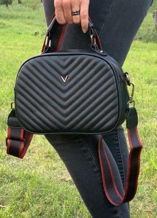 Женская сумка кросс боди стеганая черная