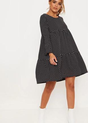 Pretty little thing платье чёрное в белый горошек оверсайз свободное новое трапеция шифон