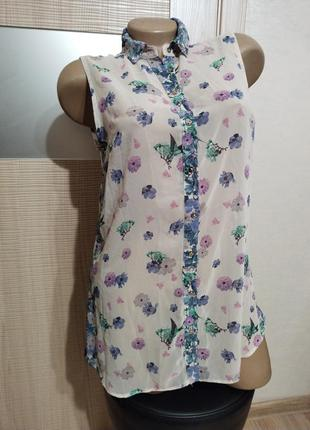Акция 1+1=3🤩🤑очень лёгкая нежная блуза в цветочек длинная