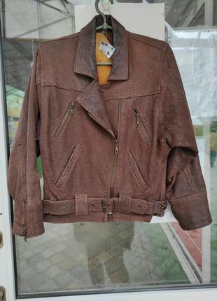 Куртка осенняя кожаная нубук косуха