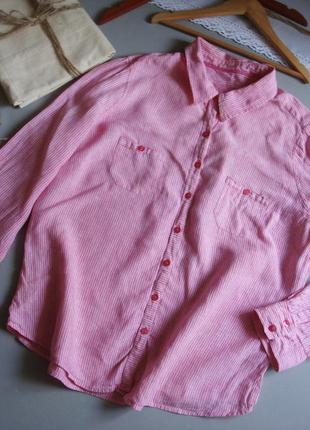 Розовая льняная рубашка с длинным рукавом xxl 3xl 4xl
