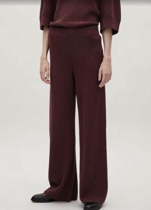 Широкие трикотажные брюки палаццо из льна