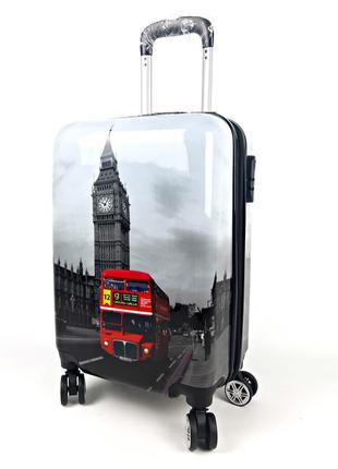 Средний чемодан лондон на колесах, с 3d эффектом 60 л