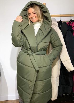 Зимняя длинная куртка палатка, куртка одеяло, классная зимняя куртка пальто на синтепоне цвет хаки