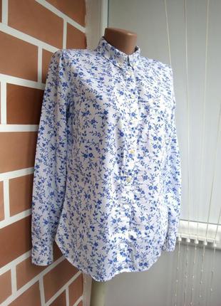 Натуральная рубашка в листики xs s m