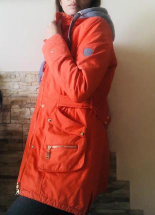 Куртка демісезонна, парка джинсова, утеплена куртка, довга парка осіння