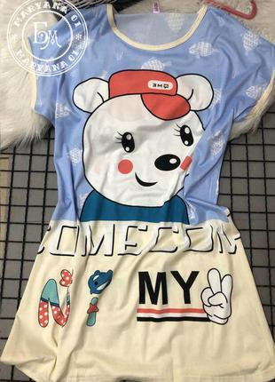 Мимишная ночнушка teddy bear / медвежонок размер oversize