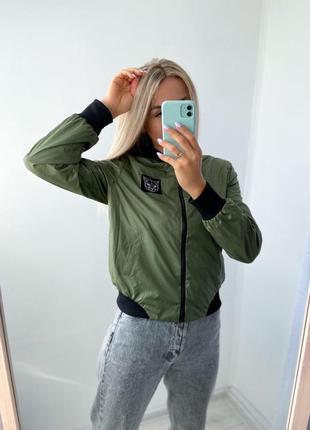 Бомбер двухсторонний женский деми куртка хаки-горчица