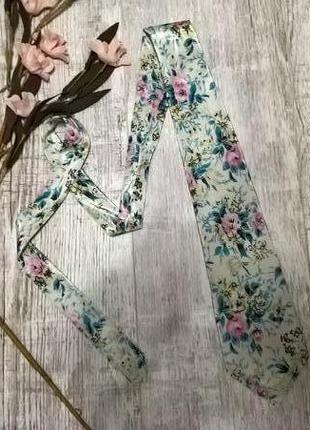 Стильный женский галстук ручной работи в цветы от gold city-шелк
