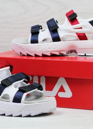 Босоніжки  fila білі/сині/червоний, стильні,якісні, молодіжні