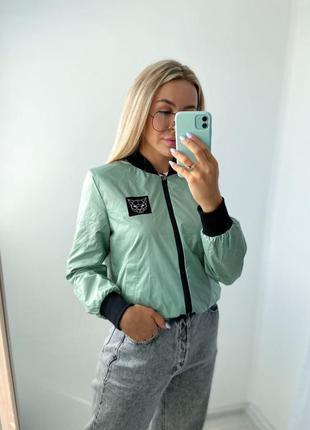 Бомбер двухсторонний деми куртка короткая мята-кирпич