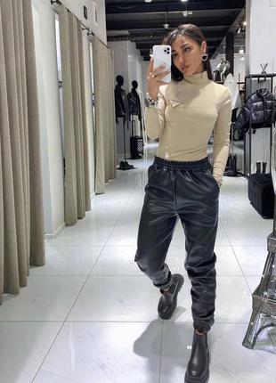 Кожаные джоггеры / штаны