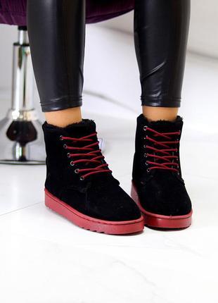 Модные женские зимние ботинки угги на шнуровке цвет - черный + марсала