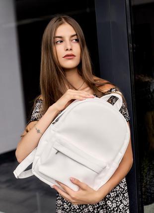 Женский школьный белый вместительный рюкзак для девушки