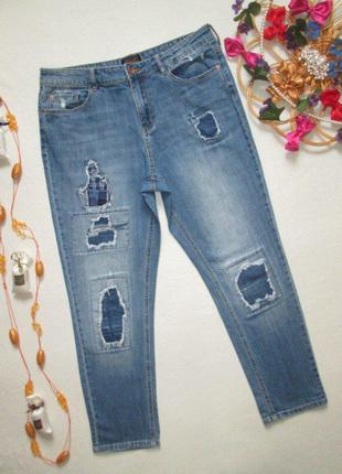 Суперовые стрейчевые джинсы бойфренд с латками f&f 🍁🌹🍁