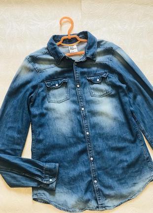 Сорочка рубашка джинсова подростковая підліткова