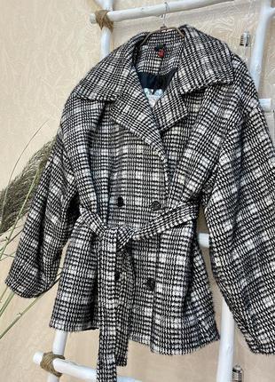 Пальто эко мех клетка италия меховое с поясом imperial