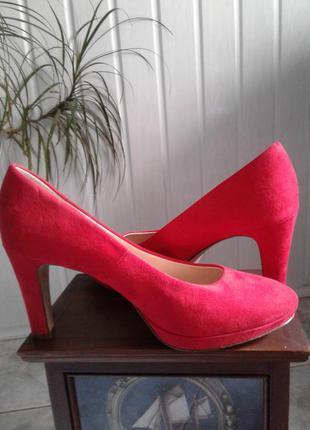 Туфли красные замшевые graceland высокий каблук р 40