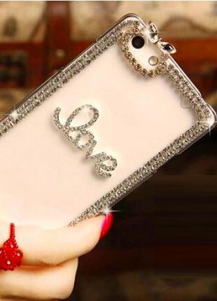 Прозрачный силиконовый чехол бампер для смартфона телефона iphone айфона 5 5s love со стразами