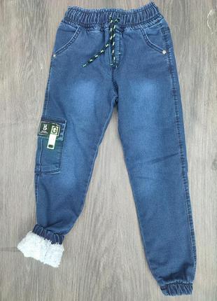 Модные теплые штаны джинсы на меху джоггеры на мальчика подростка
