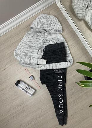 Pink soda женский костюм victoria secret пинк серый виктория сикрет кофта штаны худи