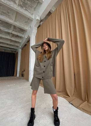 Норма и батал!  костюм тройка кофта с капюшоном, топ, бермуды люкс качества