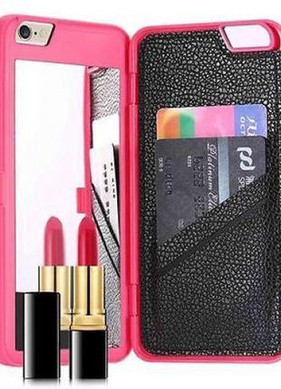 Броне чехол для мобильного телефона смартфона iphone айфона 6 6s 7 с зеркальцем и кармашками розовый