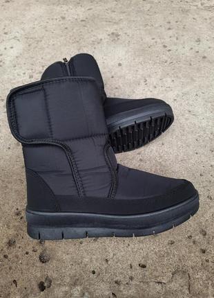 Зимние черные дутики теплые ботинки на меху