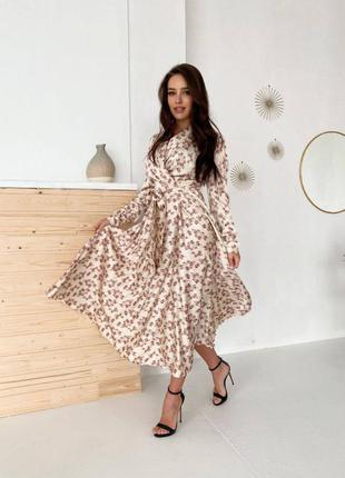 Шелковое длинное платье на запах