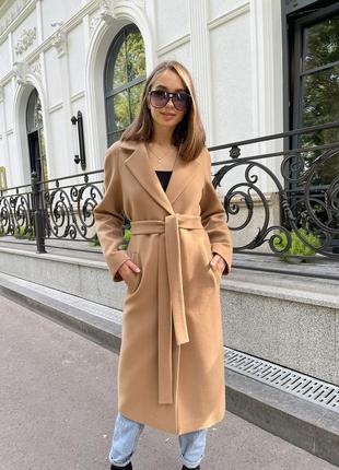 Шикарное демисезонное кашемировое женское пальто д 363 турция кэмел