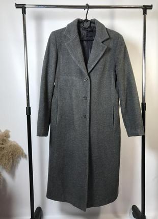 Шерстяное серое пальто zara осень/зима