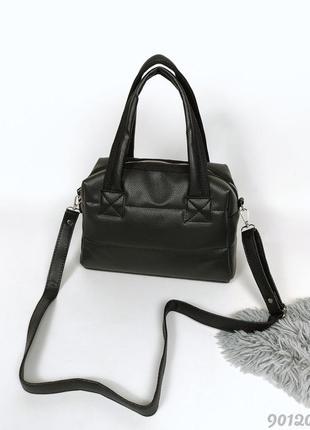 Чорна дута сумка стьобана жіноча, женская черная дутая стеганая сумка